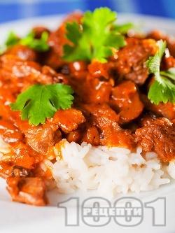 Бьоф Строганов - руско ястие с телешко месо (филе), гъби, домати, бяло вино и сметана - снимка на рецептата